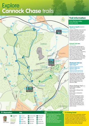 Cannock Chase Map Leisure Cycling Trails   Chase Trails Cannock Chase Map